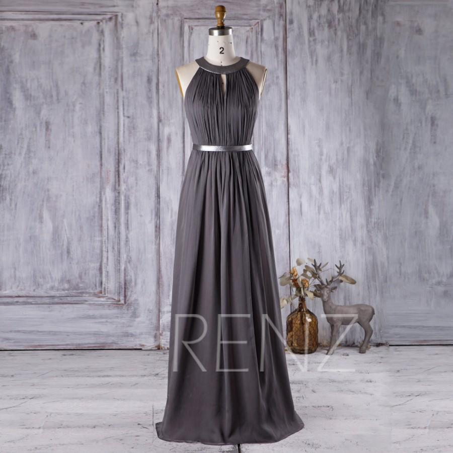2016 charcoal chiffon bridesmaid dress hollow neck for Charcoal dresses for weddings