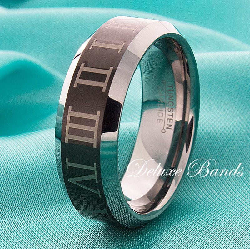 Mariage - Roman Numeral Tungsten Wedding Ring,Customized Roman Numerals Tungsten Band,Tungsten Roman Numeral Ring,Anniversary Band In Roman Numerals
