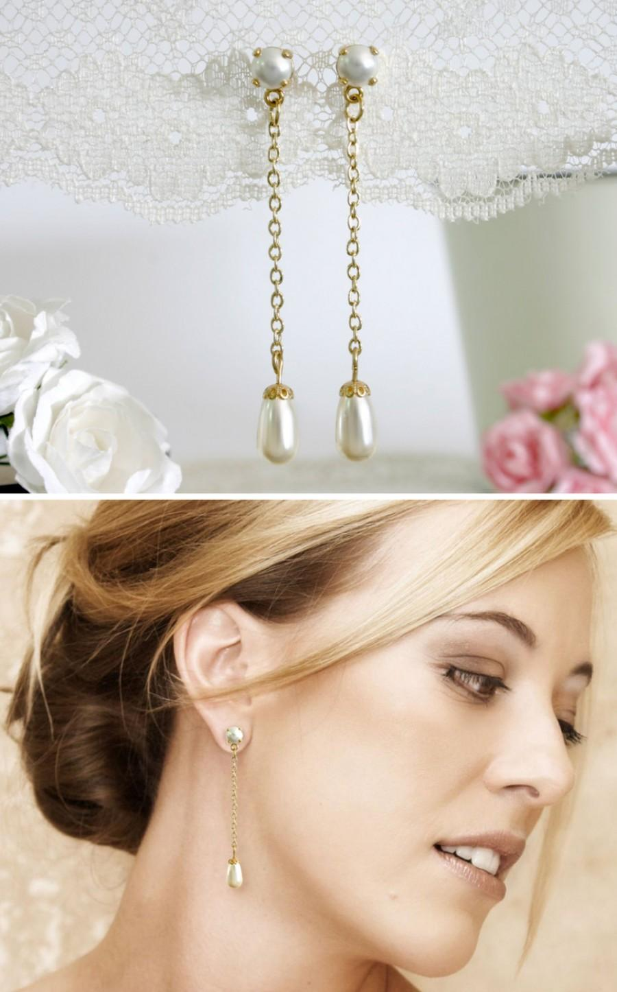 زفاف - Bridal pearl earrings, Pearl bridal jewelry, Pearl bridal earrings, Pearl wedding earrings, Long pearl earrings, Pearl drop earrings