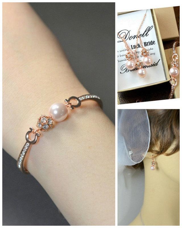 Mariage - Blush pink bracelet , pink rose gold bracelet,blush pink bridesmaid jewelry ,pale pink earrings necklace bracelet ,cubic zirconia pink