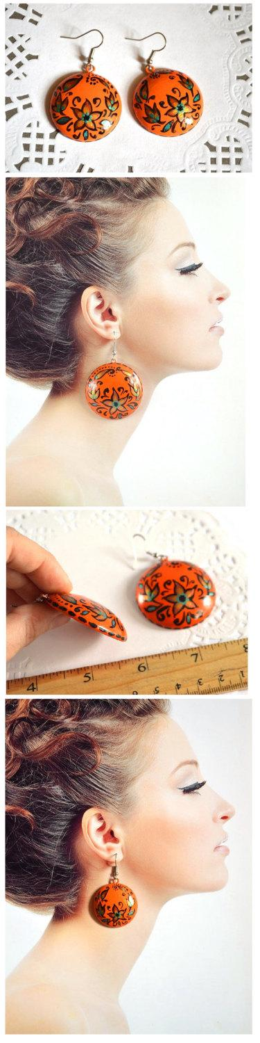 Hochzeit - Orange wood earrings with hand painted Handmade round earrings Gift idea for her Folk ethnic jewelry Casual Dangling earrings Birthday gift