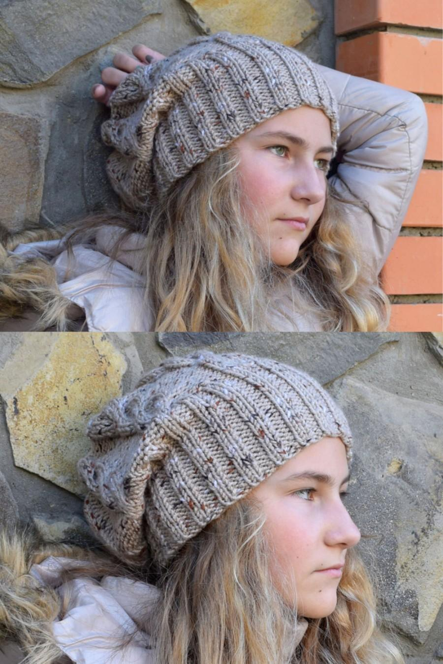 fba69e65b2f Knit slouch beanie-Teen girl slouchy beanie hat-teen gift Hippie beanie  Fall hat Hipster hippie hat-chunky hat-Gray Beige Girlfriend gift