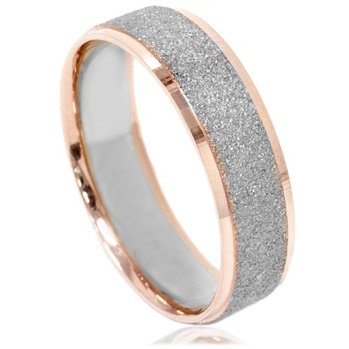 Mens Two Tone Wedding Ring 14k White Rose Gold 6mm Brushed Band Size 7 12