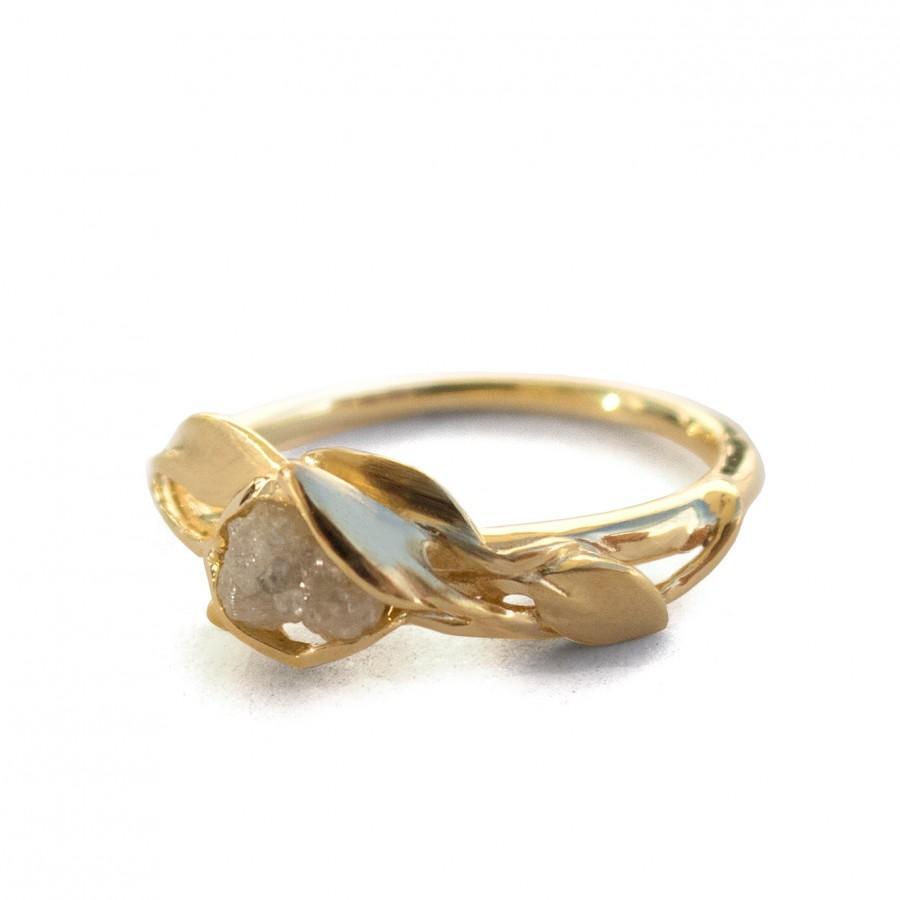 زفاف - Leaves Engagement Ring - 18K Gold and Rough Diamond engagement ring, Unique Engagement ring,rough diamond ring, raw diamond ring, recycled,6