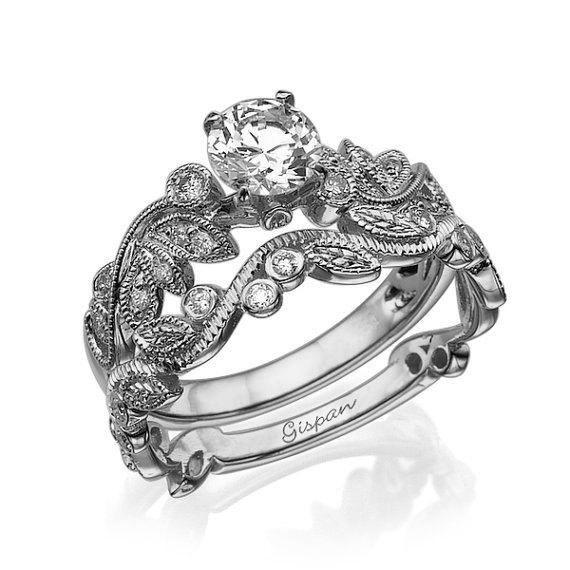 زفاف - Leaves Engagement Set, White Gold Engagement Set, Wedding Set, Art Deco ring, Jewelry set, Gold Set Ring, Diamond set ring, Woman Set