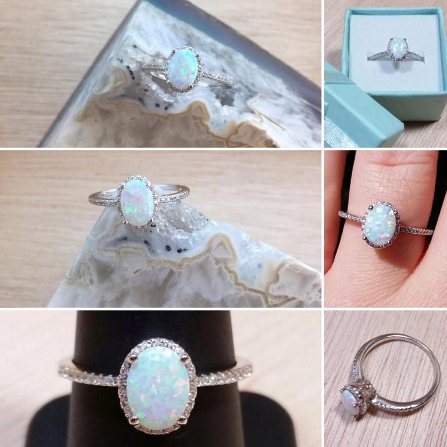 Mariage - Opal Engagement Ring Sterling Silver size 4 5 6 7 8 9 10 11 12