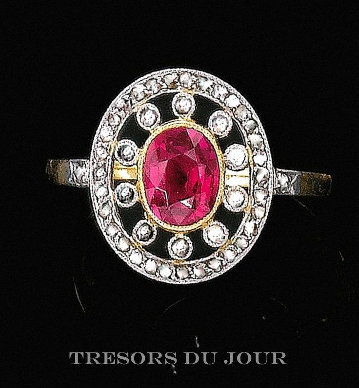 Mariage - Unique Edwardian Ruby and Diamond Halo Engagement RING in 18kt rose and white gold with conflict free diamonds, Ruby Engagement Ring