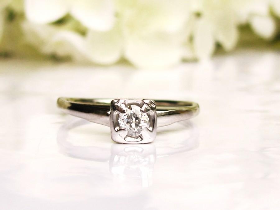 زفاف - Antique Art Deco Engagement Ring 0.20ct Old Mine Cut Diamond Wedding Ring 14K White Gold Diamond Solitaire Ring Vintage Bridal Jewelry Sz 8