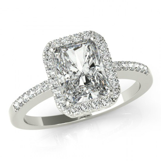 زفاف - 3.50 carat Forever Brillaint Moissanite Engagement Ring 14k White Gold - Emerald Cut - Diamond Halo Engagement Wedding Rings for Women