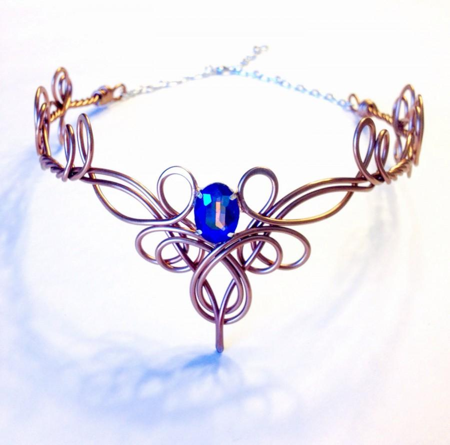Mariage - TINUVIEL Circlet - Celtic Elven Medieval Renaissance Hand Wire Wrapped - Choose Your Own COLOR - Crown Tiara Bridal Wedding Hairpiece Cospla
