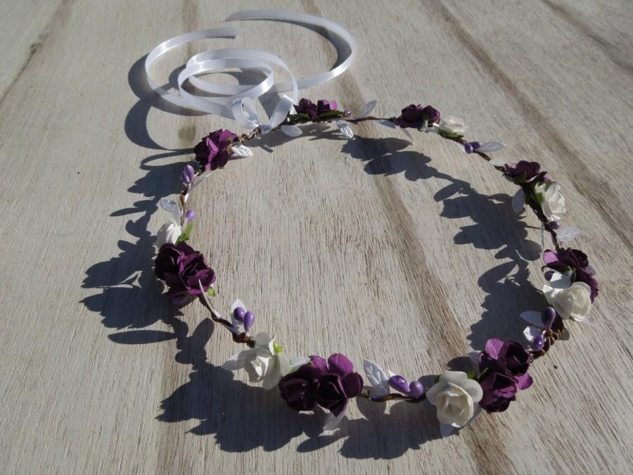 Mariage - Purple Plum Flower Crown,Eggplant and White Crown,Flower Girl Crown,Flower Crown,Bridal Hair Wreath,Majestic Hair Crown,Flower Girl Halo