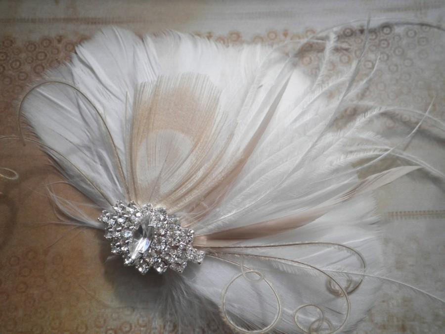Mariage - White, weddings, hair, accessories, Bridal, Fascinator, Feather, Feathered, Clip, Wedding, brides, bride, ivory, peacock - BRIDAL BLISS
