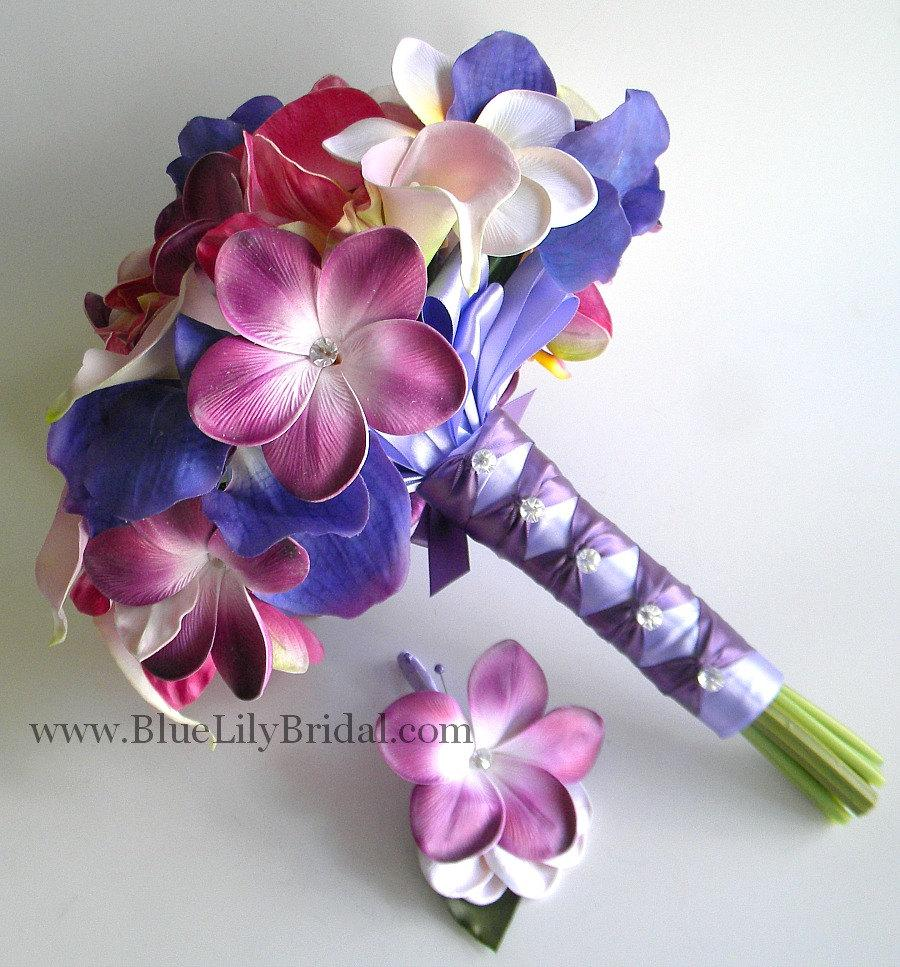 Wedding - Purple Tropic  Destination Bridal Bouquet and Grooms Boutonniere- Beach Wedding