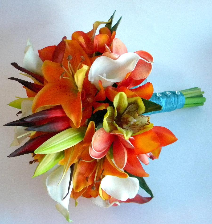 Hochzeit - Destination Cozumel- Real Touch Bridal Bouquet Beach/Tropical Wedding in Oranges, Orange/reds and greens  with Teal
