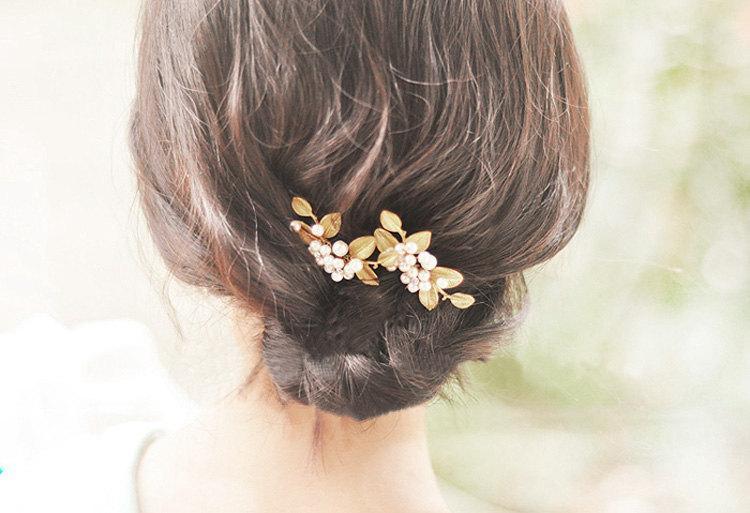 Mariage - Gold & pearl, Bridal Hair pins, Golden hair pins, Wedding hair accessories, Golden hair accessories, Pearl hair pins, Vintage hair pins
