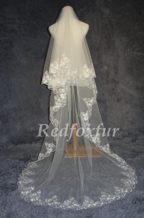 Hochzeit - Bride cathedral veil/ ivory white Veil/Wedding dress veil/Lace edge veil/Wedding Accessories/1 Tier Veil
