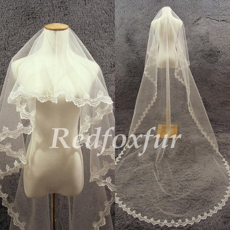 Свадьба - Bridal Cathedral Veil/1Tier Bridal Veil/Ivory Lace edge veil/Alencon lace veil/sequins Veil/Wedding Accessories/Wedding dress veil