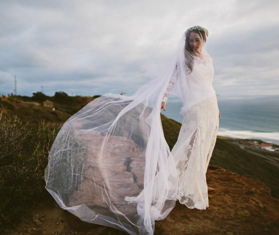 Hochzeit - English Net Bridal Veil, GRANDE MAUDE Drop Veil, Wedding Veil Long Veil Cathedral Veil, Tulle Veil, Silk Tulle Veil, English Net Veil