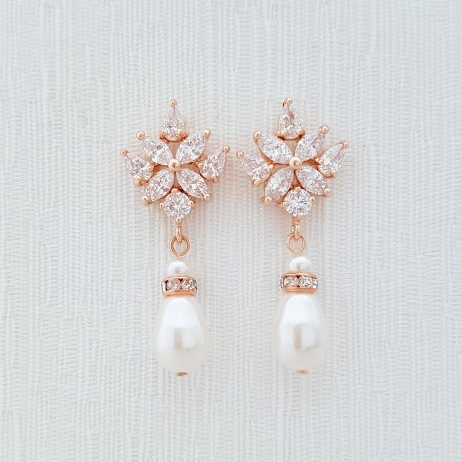 Rose Gold Earrings Crystal Wedding Earrings Bridesmaid Earrings White Ivory  Or Cream Swarovski Pearls Crystal Bridal Earrings, Astra