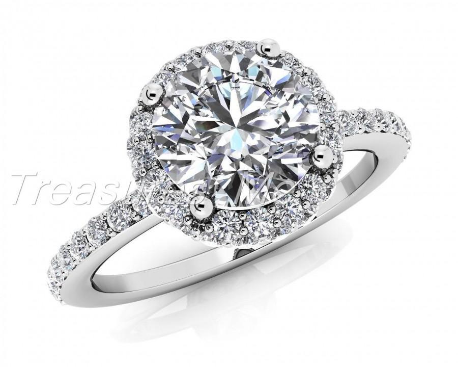 زفاف - Stunning Forever Brilliant 1.00 Round Cut Moissanite & 0.48 carats t.w. diamond engagement ring