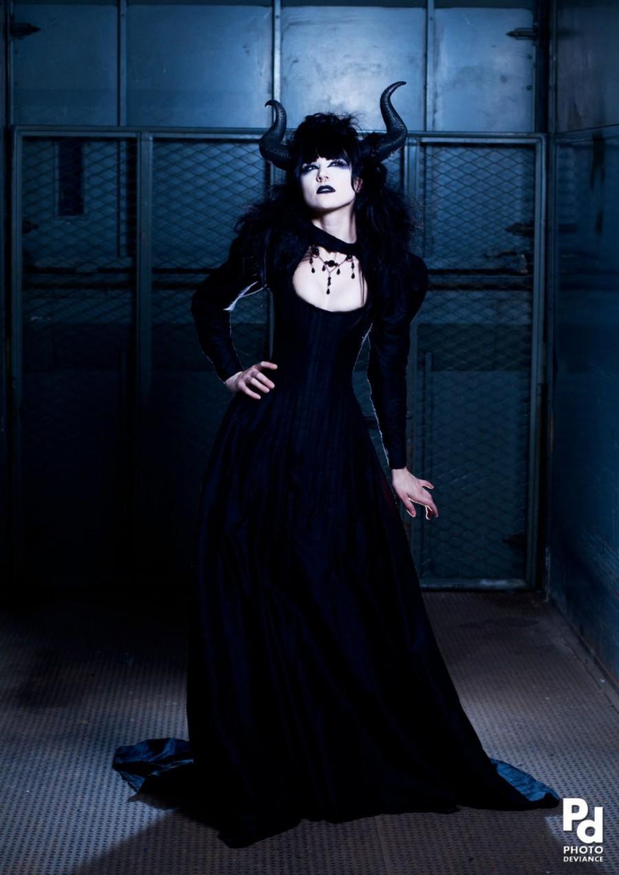 Gothic black dragon wedding dress victorian corset for Black corset wedding dresses