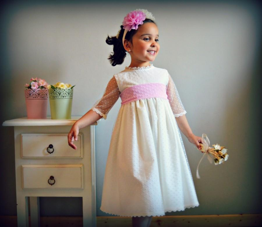 Mariage - MARINA. 1T to 10+years. Baby Toddler Girl Flower Dress.Custom your OWN outfit.Baptism.Wedding.Communion.Special celebration.Made to measure