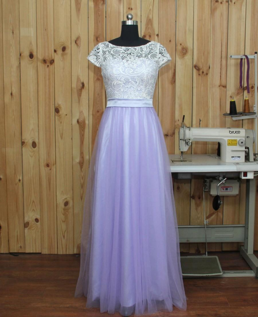 Boda - 2016 Lavender Bridesmaid dress, Lace Wedding dress, Formal dress, Tulle Prom Dress, Evening dress floor length
