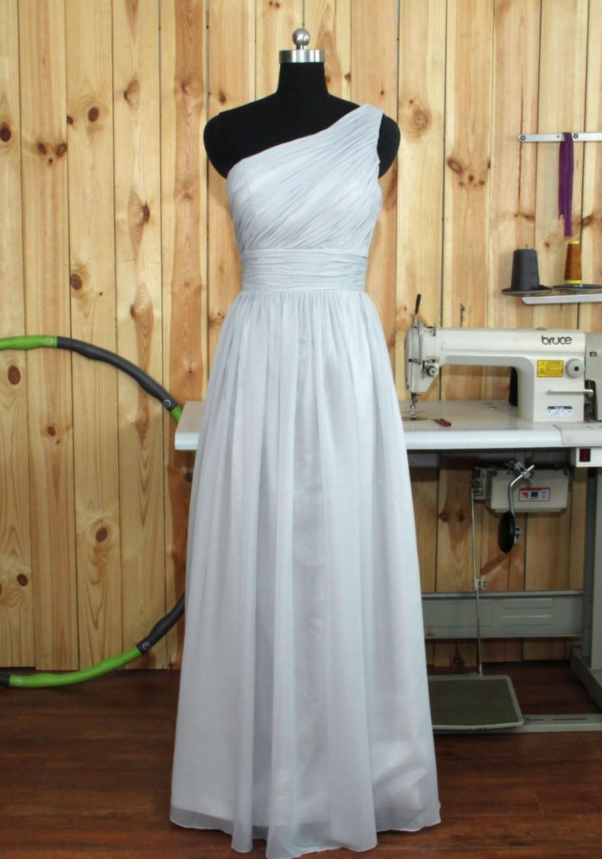 Свадьба - 2016 Custom Made Light Grey Bridesmaid Dress, One Shoulder Chiffon Bridesmaid Dress, Maid of Honor Dress, Wedding Party Dress, Prom Dress