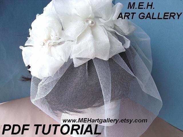 Mariage - Bridal Headpiece flower tutorial, DIY WEDDINGS, Num. 1, pdf tutorial SHABBY Chic Hair Accessories - No sewing machine required.