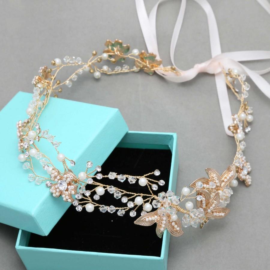 Vintage Gold Flower Bridal Tiara, Vintage Flower Gold Bridal ...