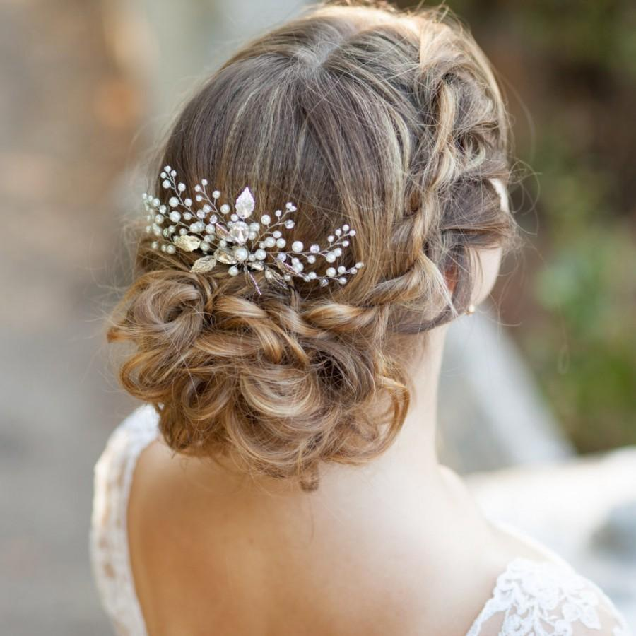 Hochzeit - Pearl bridal hair comb Wedding hair comb Decorative hair comb Pearl bridal headpiece Leaf bridal hair comb Leaves wedding comb Floral comb