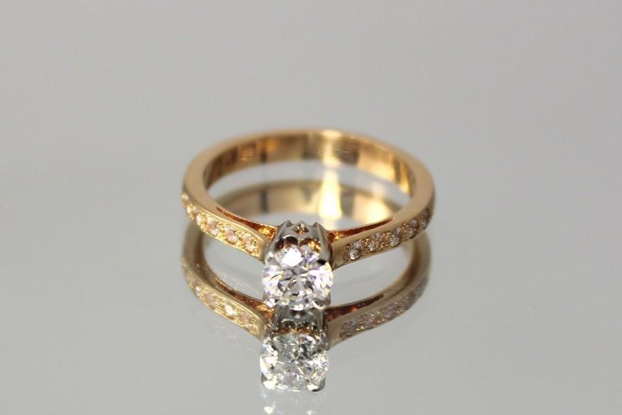 زفاف - Gold engagement ring, Rose gold ring, Diamond ring, Diamond ring woman, Engagement ring her, White diamond ring, Sparkle diamond ring