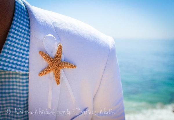 Hochzeit - Unique Beach Wedding Starfish Boutonniere -  with 35 Ribbon Choices - Beach Lapel Pin - Groomsman Gift - Destination Beach Wedding