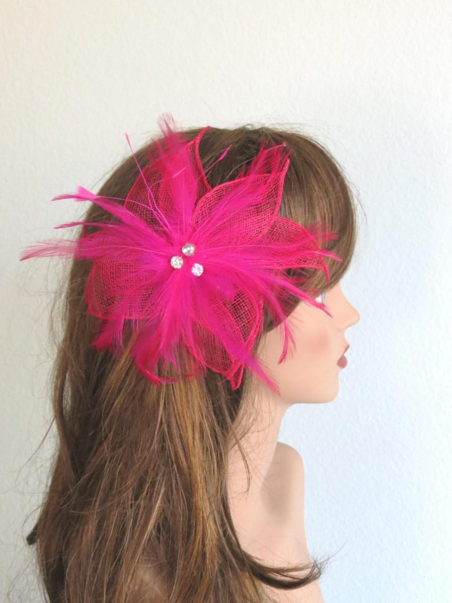Wedding - Hot Pink Wedding Hair Clip Feather Mesh Clip And Pin Wedding Accessory Bridal Hair Clip