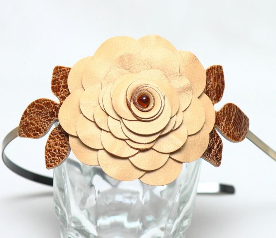 زفاف - Yellow flower headband fascinator leather rose brown leaves woodland wedding bridal hairpiece 3 year anniversary gift prom wearable art