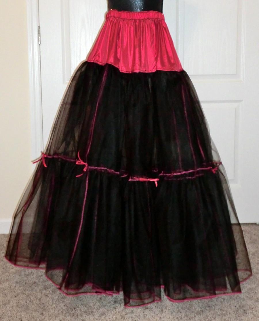 زفاف - Three Layer Goth Black and Red Crinoline Petticoat for Full Ballgowns, Three layers, Custom