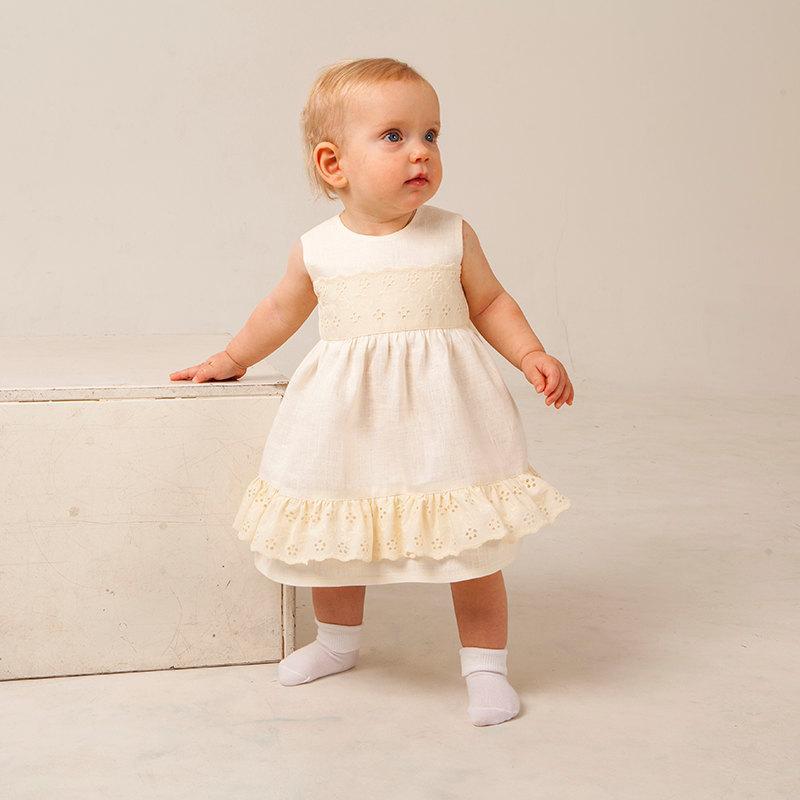 ee79f7cfbf7 Flower girl ivory dress Baby girl linen dress Baptism dress Rustic wedding  girl dress Baby girl vintage blessing gown First birthday dress