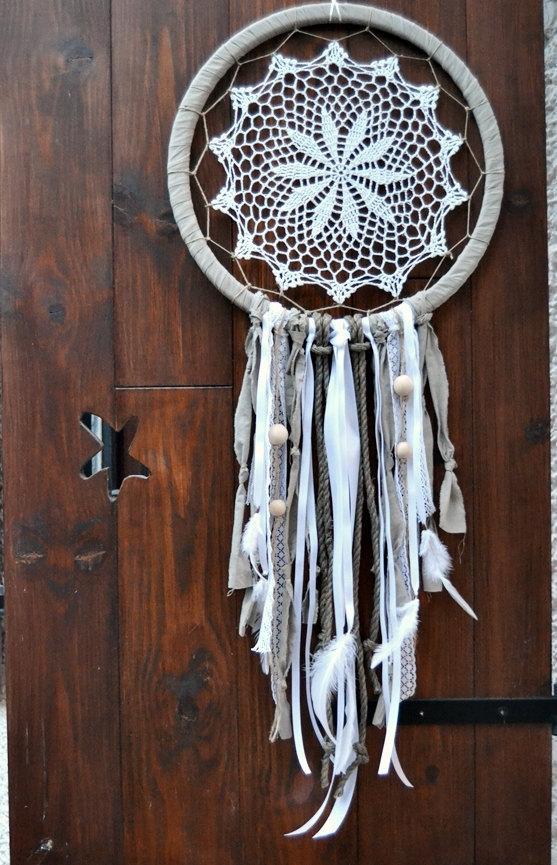 Large Dream Catcher Boho Weedding Large White