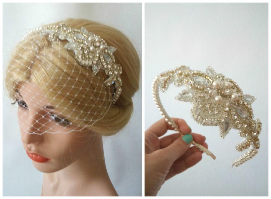 Hochzeit - Birdcage Veil Headband with Crystal Headpiece, Crystal Headband Veil, Small Birdcage Veil, Ivory Veil, White Birdcage Veil