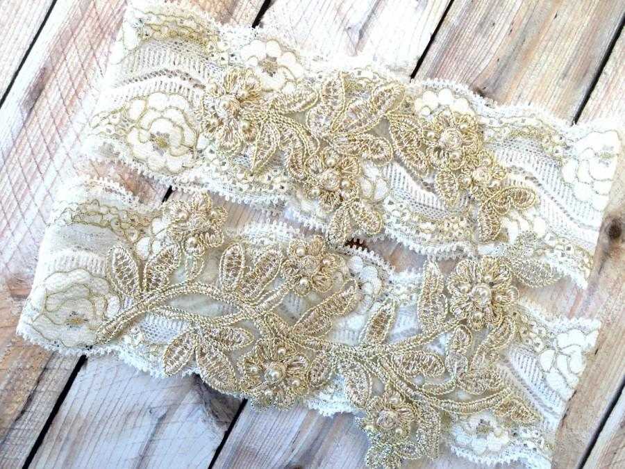 Wedding - Gold Bridal Garter, Wedding Garter Set, Wedding Garter Gold, Gold and White Garter, Gold garter belt, Gold Garters, Gold Garter Set