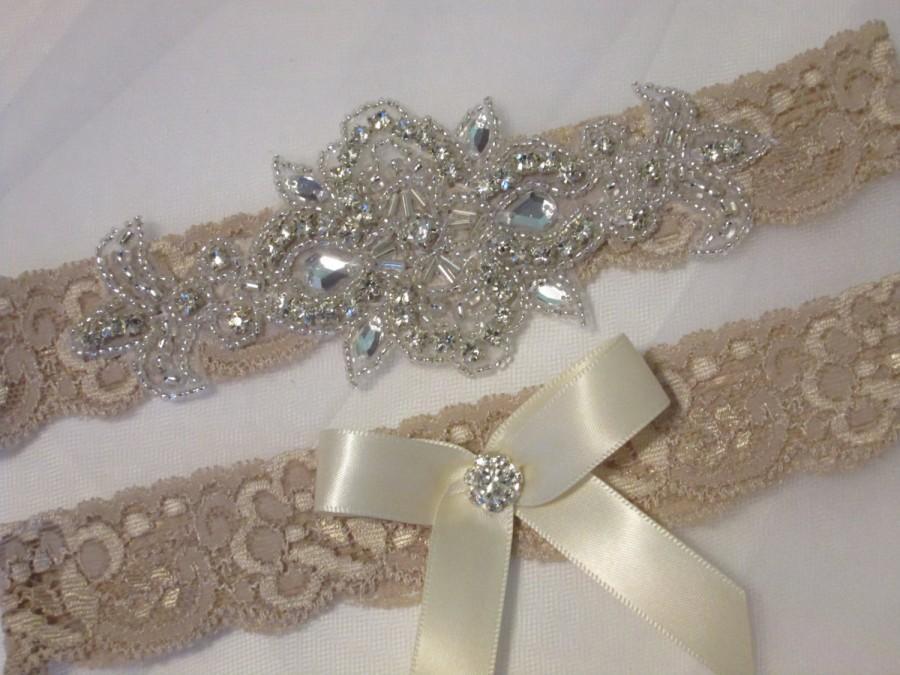 Champagne Lace Wedding Garter Set Rhinestone Bling Crystal Rustic Vintage Bridal Cream Nude Beige