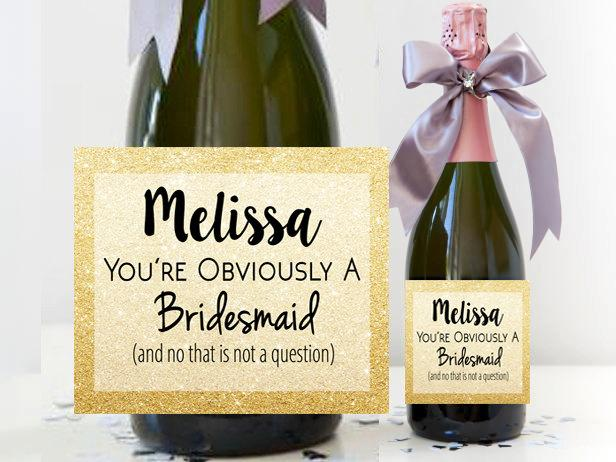 will you be my bridesmaid bridesmaid champagne label bridesmaid