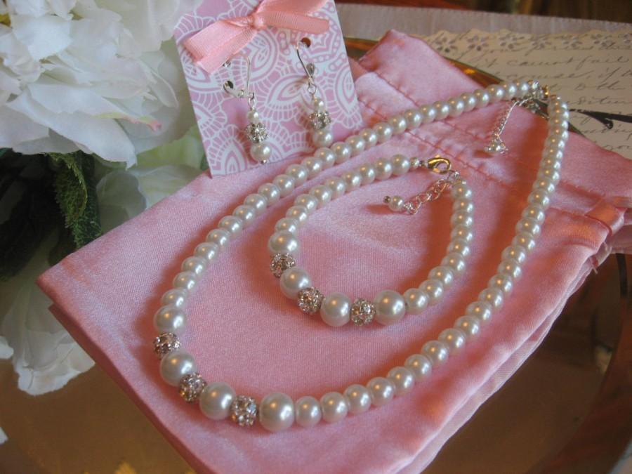 Mariage - Custom Flower Girl Pearl and Rhinestone Necklace-Bracelet and Earring Set/Junior Attendant Jewelry/Childrens pearl Jewelry/Wedding Jewelry