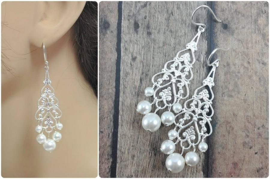 Pearl Bridal Earrings Chandelier Bride Silver Long Lightweight