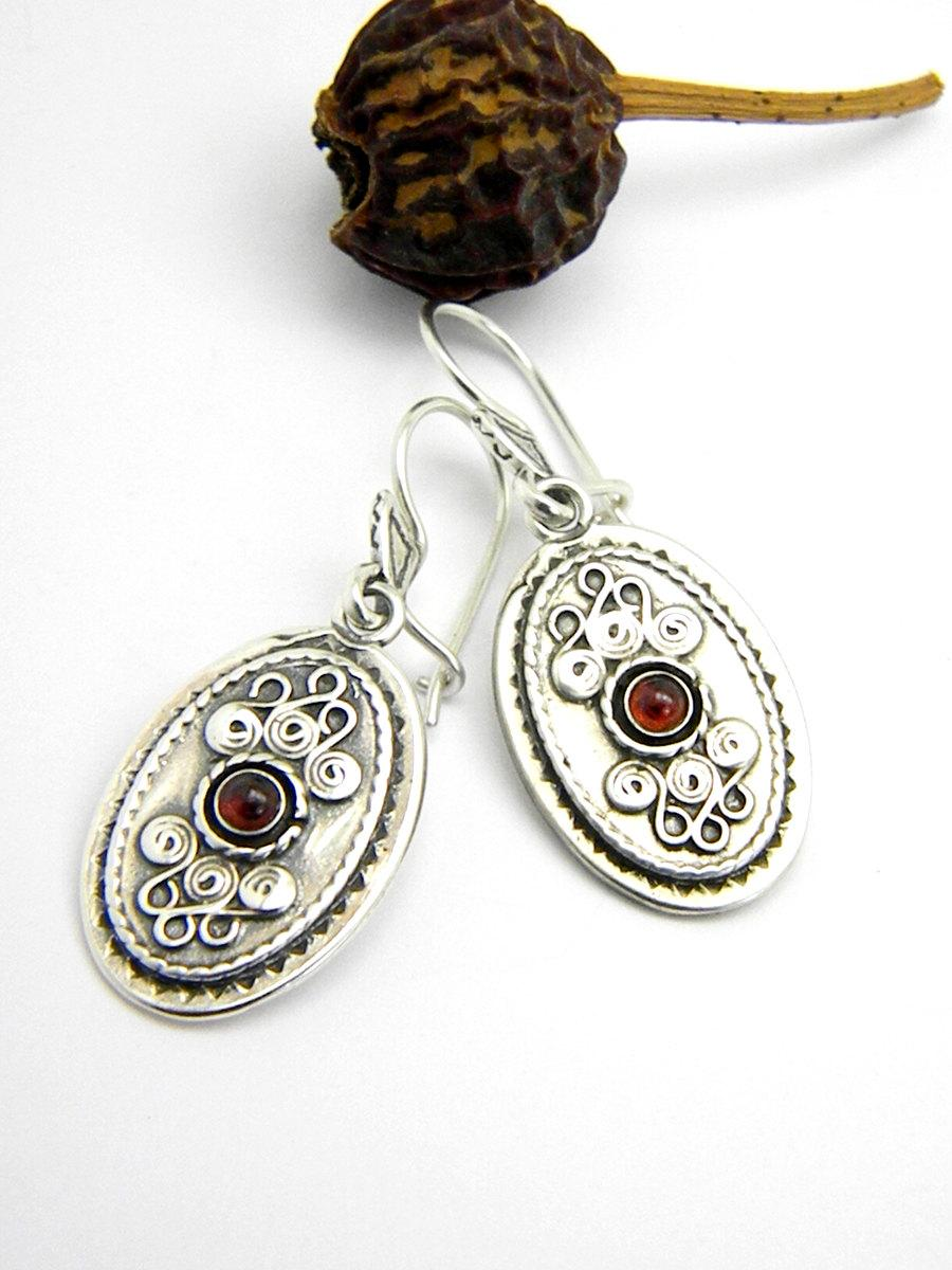Garnet Earrings In Sterling Silver Long Dangle Stone Antique Style Jewelry Rustic Handmade