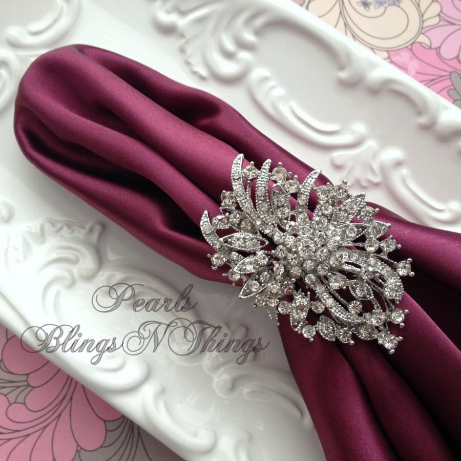 Wedding - Ex-large Elegant Crystal Rhinestone SILVER  Pewter Oval Brooch NAPKIN RING Wedding Table Decorations Bridal Brooches Vintage Replica