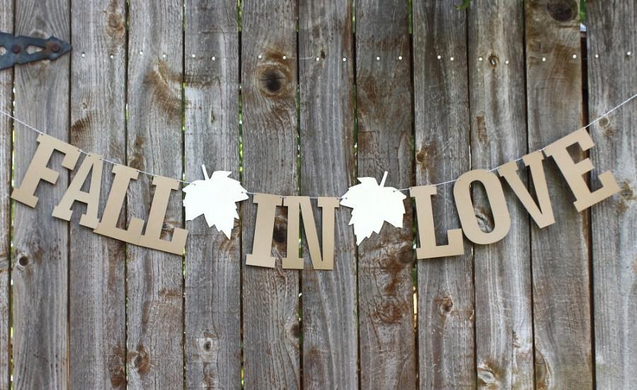 Свадьба - Fall in Love Banner, Fall Wedding Banner, Bridal Shower Banner, Fall Wedding Garland, Rustic Wedding Garland Banner, Love Banner
