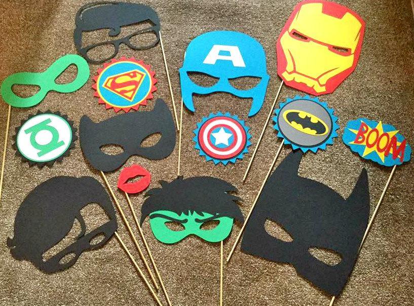 Свадьба - 14pc SUPER HERO party photo booth props hulk, captain america, avengers, iron man, batman, super hero party birthday party party props