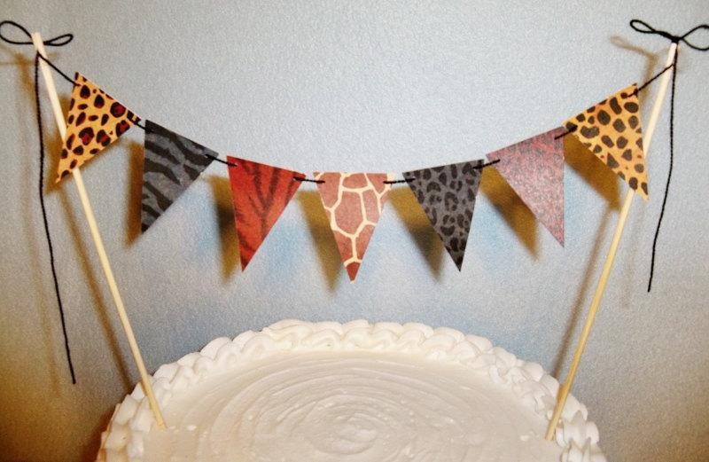 Mariage - Animal Prints Cake Topper Garland Safari Bunting Tribal Party Banner African theme