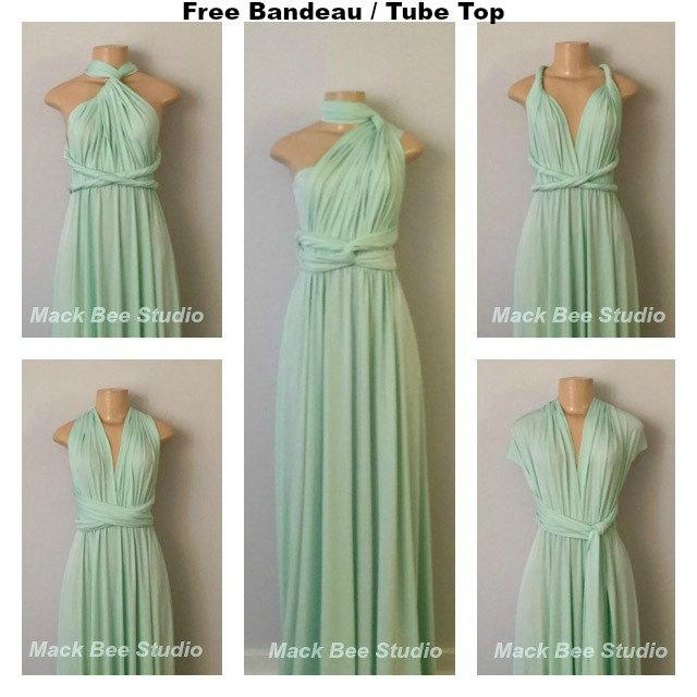 Düğün - Mint Long Infinity Bridesmaid Dress, Mint Convertible Wrap Dress,MInt Prom Dress,Mint Dress,Mint Multiway Dress, Light Green Maternity Dress